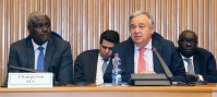 UNOAU/Edda Zekarias Secretary-General António Guterres (right) addresses a peace and security in Africa session at the Second Annual AU-UN Conference in Addis Ababa, Ethiopia.