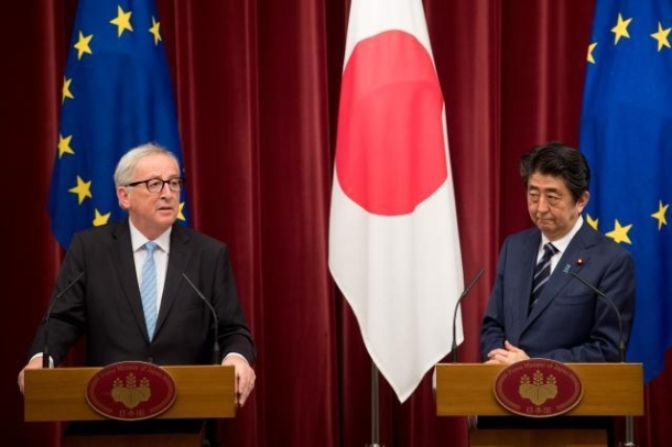 Shinzō Abe, on the right, and Jean-Claude Juncker at EU-Japan Summit in Tokyo last week. (Copyright: European Union, 2018 / Photo: Etienne Ansotte)