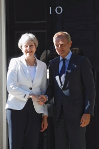 From left to right: Ms Theresa MAY, UK Prime Minister; Mr Donald TUSK, President of the European Council. Shoot location: London - UNITED KINGDOM Shoot date: 25/06/2018 Copyright: European Union