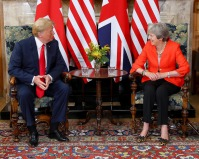 British Premier Theresa May received Donald Trump, President of the United States, at Chequers, the country house of the Prime Minister of UK. Taken on July 13, 2018. (Photo released by 10 Downing St., some rights reserved).