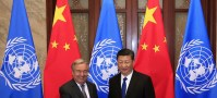 UN China/Zhao Yun In Beijing, UN Secretary-General António Guterres meets with Chinese President Xi Jinping.