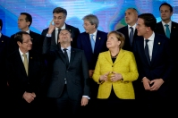 European Council - December 2017, family photo. The French President Emanuel Macron (second from left, first row) has always been urging the German Chancellor Angela Merkel (second from right, first row) to look up to a stronger EU. Copyright: European Union.