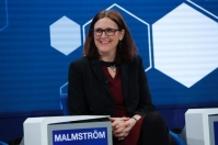 Cecilia Malmström takes part in a televised session on Putting the EU to the test in Davos. © European Union , 2019 / Photo: Stefan Wermuth.