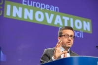 Carlos Moedas, Member of the EC in charge of Research, Science and Innovation, and Urho Konttori, Founder and CEO of Varjo, will hold a press conference on setting up the European Innovation Council. © European Union, 2019.