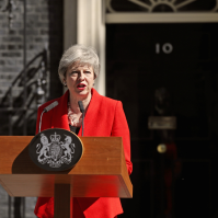 London, 10 Downing Street, 24 May 2019. The British Prime Minister Theresa May announcing her decision to resign as leader of the Conservative and Unionist Party on Friday 7 June. The new President of the party is to succeed her also in the Premiership. (Photo from Prime Minister's Office).