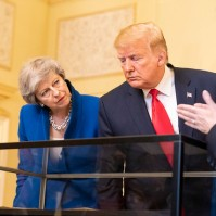President Donald Trump, along with British Prime Minister Theresa May, viewing a displayed copy of the Declaration of Independence at No. 10 Downing Street Tuesday, June 4, 2019, in London. (Official White House Photo by Shealah Craighead)