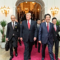 President Donald J. Trump and Japan's Prime Minister Shinzo Abe leave the Akasaka Palace Monday, May 27, 2019, following their afternoon meeting at this Tokyo palace. (Official White House Photo by Shealah Craighead)