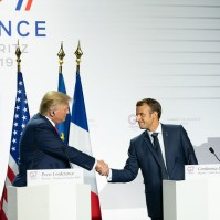 President Donald Trump and French President Emmanuel Macron participated in a joint press conference Monday, Aug. 26, 2019, in Biarritz, France, site of the G7 Summit. They both tried to let some steam off the financial system, but in vain. (Official White House Photo by Andrea Hanks)
