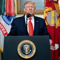 President Trump Announces Details of the U.S. Special Operations Forces Mission Against ISIS Leader. President Donald J. Trump addresses his remarks to the nation Sunday morning, Oct. 27, 2019, in the Diplomatic Reception Room of the White House, to announce details of the U.S. Special Operations Forces mission against notorious ISIS leader Abu Bakr al-Baghdadi's compound in Syria. (Official White House Photo by Shealah Craighead)