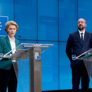 Ursula von der Leyen, on the left, and Charles Michel. Co-operators: Photographer: Etienne Ansotte European Union, 2020 Source: EC - Audiovisual Service.